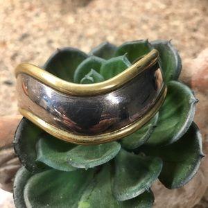 Laton Sterling Silver & Brass Cuff Bracelet